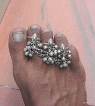 vintage antique ethnic tribal old silver toe ring belly dance jewelry fish - $137.61