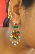 ethnic design silver earrings dangle glass stones rajasthan india - $114.84