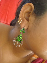 ethnic design silver earrings dangle glass stones rajasthan india - $103.95