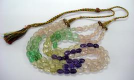 vintage amethyst citrine rose quartz gemstone faceted beads necklace strand - €92,07 EUR
