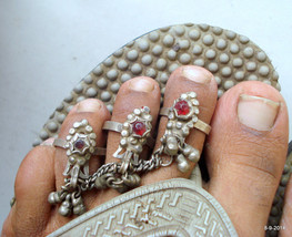vintage antique ethnic tribal old silver toe ring pair fish deign belly dance - $215.82