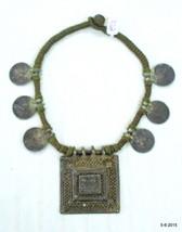 vintage antique old silver necklace coin pendant hindu god ganesh laxmi - $543.51