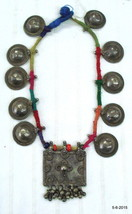 vintage antique old silver necklace disk pendant tribal jewellery india - $395.01