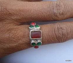 vintage antique tribal old silver ring  glass stones ring handmade - $84.15
