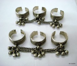 vintage antique ethnic tribal old silver toe rings belly dance jewelry - $226.71