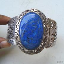 ethnic sterling silver bracelet bangle cuff lapis gemstone rajasthan VTJ... - $286.11