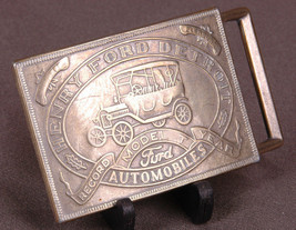 Vtg Henry Ford Detroit Solid Brass Belt Buckle-Model T Record Year-Autom... - $18.68
