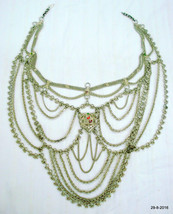 vintage antique ethnic tribal old silver necklace har belly dance jewellery - $791.01