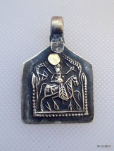 vintage antique tribal old silver amulet pendant hindu god gypsy hippie - $98.01