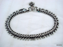 vintage antique tribal old silver anklet feet bracelet ankle chain aathada - $153.45