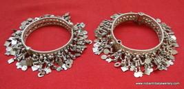 vintage Antique ethnic tribal old silver charm Bracelet bangle ECL belly... - $543.51