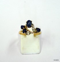 vintage 18k gold ring sapphire & diamond gemstone handmade tribal jewelry - $385.11