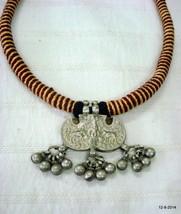 vintage antique old silver amulet pendant necklace god krishna cow hindu - $137.61
