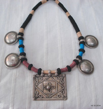 vintage antique tribal old silver pendant necklace choker gypsy jewelry - $266.31