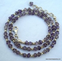 sterling silver & amethyst stone beads chain necklace - $108.90