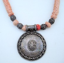 TRADITIONAL DESIGN SILVER PENDANT NECKLACE RAJASTHAN - $137.61