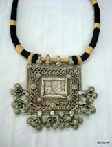 vintage antique tribal old silver amulet pendant necklace hindu god - $375.21