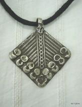 vintage antique tribal old silver necklace amulet pendant gypsy hippie - $67.32