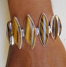 ethnic sterling silver cuff bracelet tiger eye gemstones rajasthan india - $177.21