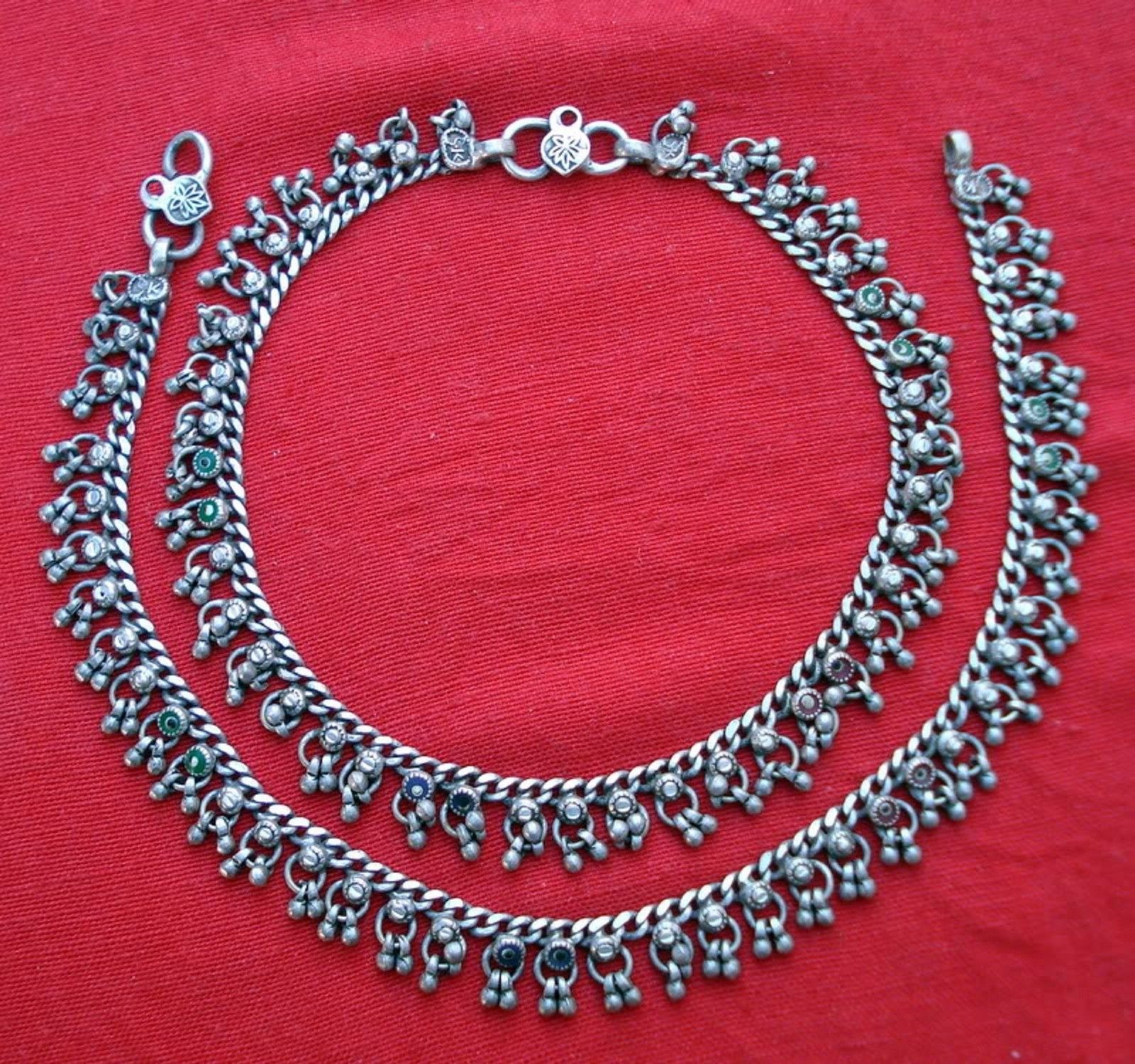 ETHNIC TRIBAL OLD SILVER ANKLET ANKLE CHAIN RAJASTHAN - $166.32