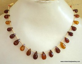 60 ct onyx gemstone bead drops necklace strand - $78.21