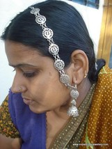 vintage antique ethnic tribal old silver earrings with hair chain - $216.81