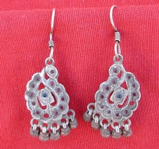 Antique Tribal Old Silver Glass Stones Earrings Pair - $67.32