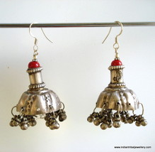 vintage antique ethnic tribal old silver earrings bellydance jewelry gypsy hippi - $146.52