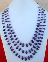 256 Ct Quality Faceted Amethyst Gems Drops Three Strand - $226.71