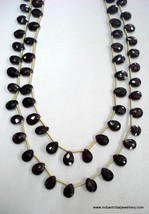 138 ct faceted garnet gemstone beads drops necklace strand - $127.71