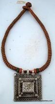 tribal old silver amulet pendant necklace antique - $237.60