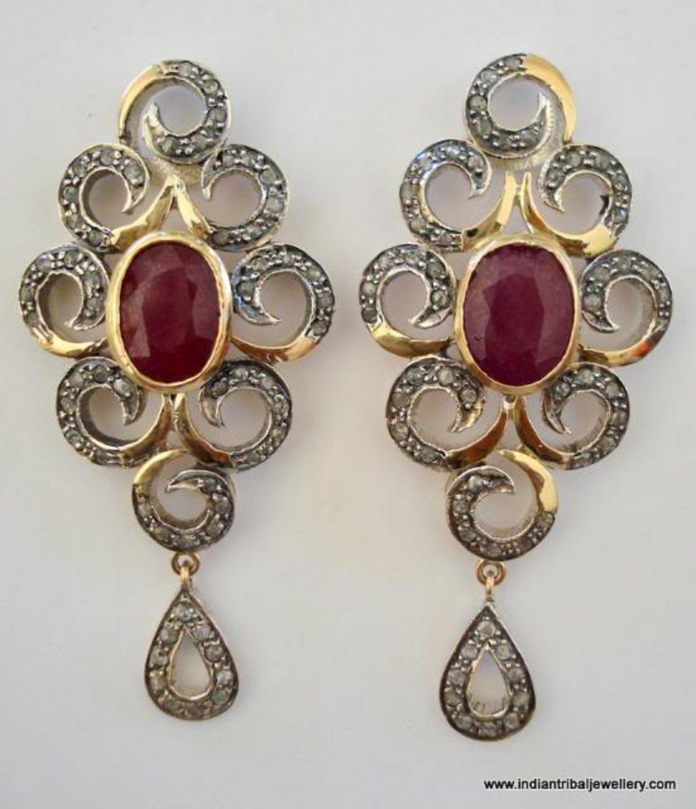 Primary image for victorian diamond ruby 14k gold silver earrings india