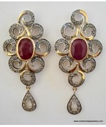 victorian diamond ruby 14k gold silver earrings india - $721.71