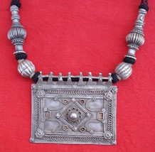 ETHNIC TRIBAL OLD SILVER NECKLACE PENDANT AMULET INDIA - $381.15