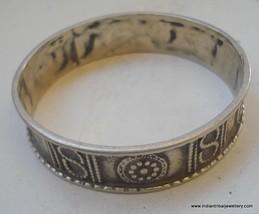 vintage antique tribal old silver bracelet bangle gypsy hippie belly dance - $114.84