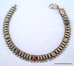 vintage antique tribal old silver anklet feet bracelet - £81.69 GBP