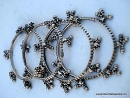 vintage antique collectible tribal old silver bangle bracelet set 4pc - $335.61