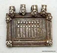 antique tribal old silver amulet pendant rajasthan indi - $78.21