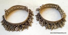 vintage Antique ethnic tribal old silver charm Bracelet bangle belly dance - $619.74