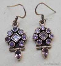 traditional design sterling silver earrings amethyst gemstone - $87.12