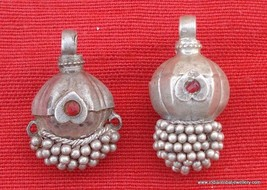 ETHNIC ANTIQUE TRIBAL OLD SILVER BEADS PENDANT GYPSY - $84.15