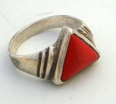 Antique Tribal Old Silver Old Gem Stone Ring - $67.32