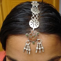 Tribal Old Silver Hair Ornament Tika Belly Dance India - $88.11