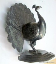 vintage antique old silver peacock bird statue figure - $463.32