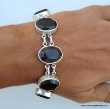sterling silver bracelet smoky topaz gemstones rajastha - $167.31