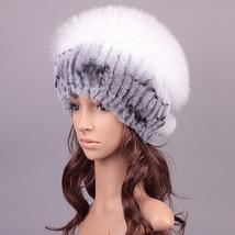 5 Colors Hand Knitted Rex Rabbit Fur HatsWinter Hat Fur Cap Silver Fox Fur Hats - $88.00