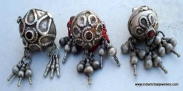 vintage antique tribal old silver head ornament beads - $147.51