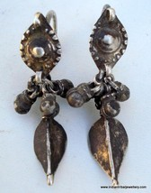OLD SILVER EARRINGS tribal bellydance antique - $87.12