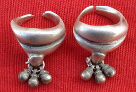 Antique Solid Tribal Old Silver Toe Ring Pair Rajasthan - $108.90