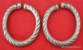 ANTIQUE TRIBAL OLD SILVER HOOP EAR PLUG EARRINGs iNDIAN - $108.90